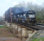 After receiving a Form D, NS 214  heads down the passing siding